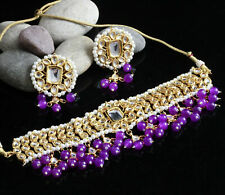 Indian Bollywood Gold Plated Pakistani Purple Choker Necklace Earring Jewelry