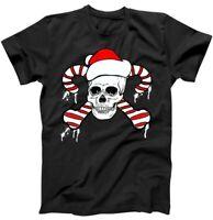 Candy Cane Skull Christmas Black T Shirt. Best Christmas Gift For Friends.