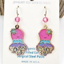 Sienna Sky Earrings 14K Gold Filled Hook Colorful Pink Blue Purple Octopus Cute
