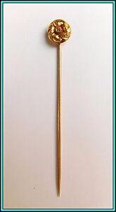 18k YELLOW GOLD Hat Stick Pin, Tie Pin, Lapel Pin w/Diamond