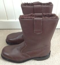 Bata Brown Leather Fur-Lined Safety Rigger Boots Industrial Work Steel UK 9 EU43