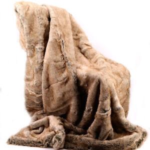 Kuscheldecke Fellimitat Wohn Sofa Decke Webpelz Hochflor 150x200cm Grizzly Bär