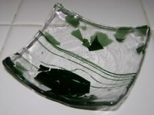 "Mid Century Vintage Glass Ashtray Dish Green Abstract Design 4"" x 4"" x 1"""
