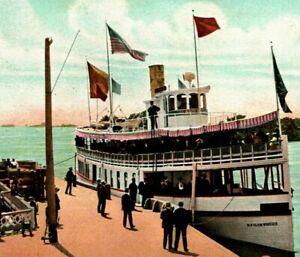 Steamer New Island Wanderer Folger Thousand Island NY 1900s UDB Postcard Unused