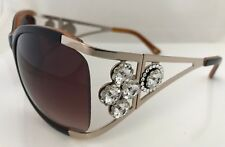 5a8f7002c47 Jimmy Crystal Round Black   White Frame Sunglasses w Swarovski