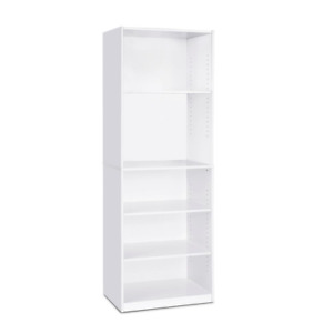 "71"" Tall 5-Shelf Standard Bookcase Closed Back Adjustable Storage Bookshelf Wood"