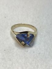 Strell Ring 14 Kt Gold Setting Blue Sapphire Lighthouse Lens Cut Stone Size 5