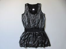 NWT Banana Republic Gunmetal Grey Metallic Drop Waist Smocked Ruffle Dress 12P