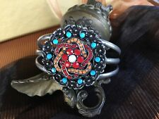 Retro funky Sou' west style Chunky beaded Floral Pot Metal Silver Cuff bangle