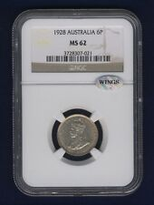 AUSTRALIA  1928  SIXPENCE SILVER COIN, UNCIRCULATED CERTIFIED NGC MS-62