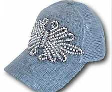 Womens Mesh Trucker Style Grey Rhinestone Major Bling Cap Hat NEW Olive & Pique