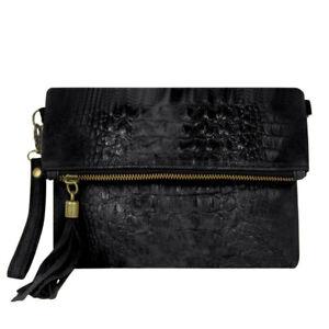 Italian Leather Croc Embossed Suede Black Tassel Clutch Bag For Ladies