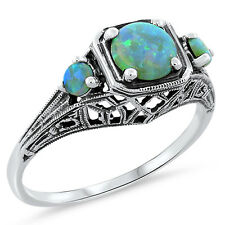 GREEN LAB OPAL ANTIQUE ART DECO STYLE .925 STERLING SILVER RING SIZE 6.75,  #411