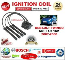 FOR RENAULT TWINGO II 1.2 16V 2007-2008 IGNITION COIL 4 PIN with IGNITION CABLES