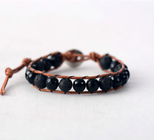 Natural Onyx Men's Beaded Friendship Bracelet Stacking Lava Rock Leather beads