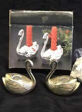 Vintage Set Silverplated Swan Candleholder Set Taper Candle Holders Silver Plate