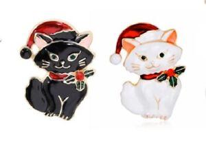 Christmas X-Mas Black / White CAT Novelty Rhinestone BROOCH Gift Dress Accessory