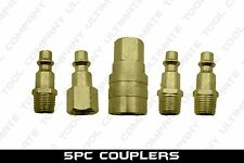 5pc Solid Brass Quick Coupler Set Air Hose Connector Fittings 1/4 NPT Tools
