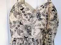 Twenty One Dress - fitted top gather ruffle skirt White Black Lined Size Med