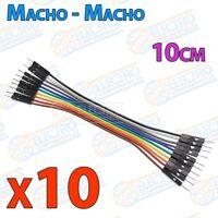 10 cables jumper protoboard de 10cm - Macho/Macho cable jumpers - Arduino Electr