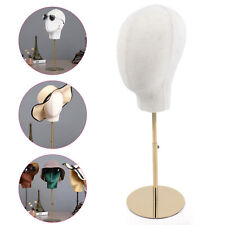 Linen + iron Mannequin Head Hat Rack Cap Wig Holder Display Stand Detachable