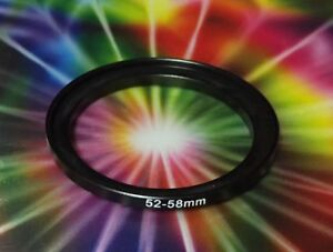 ADAPTER 52/58mm 52mm to 58mm 52-58mm Step Up Filter Ring 52-58 mm BLACK METAL