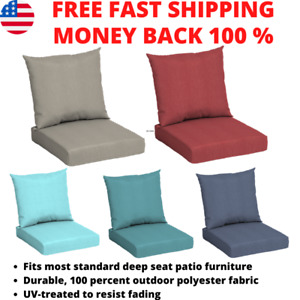 Outdoor Use Deep Seat Chair Patio Cushions Set Pad UV Resistant Porch Furniture