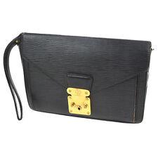 AUTH LOUIS VUITTON POCHETTE SELLIER DORAGONNE CLUTCH HAND BAG BLACK EPI BT12607