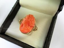 18KT Yellow Gold Coral Vintage Design Ring