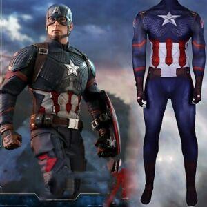 Avengers 4 Endgame Captain America Steven Rogers Cosplay Costume Suit Uniform