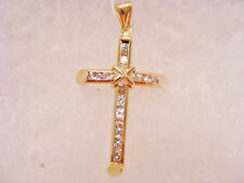 CROSS WITH CZS SOLID 14K YELLOW GOLD