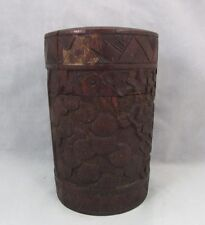 Antique Chinese carved bamboo tea caddy 19th Qing