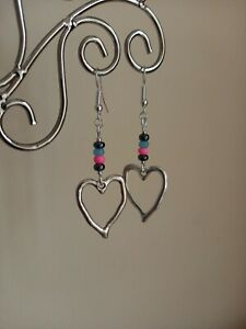 Silver Abstract Heart Charm & Glass Seed Bead Long Drop Dangly Earrings