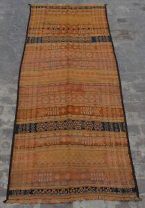R10 Vintage Afghan Nomadic Sumak Kilim/ Tribal Antique kilim Runner 3'8 x 9'4 ft
