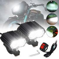 2X Motorrad 6500LM LED Scheinwerfer Zusatzscheinwerfer Tagfahrlicht Fog+Schalter