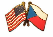 Flag Lapel Badge Pin Czech Republic Friendship with Usa
