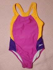 Girls Speedo Swimsuit Size 7 Neon Pink & Orange Racer Back 7776001 Lined