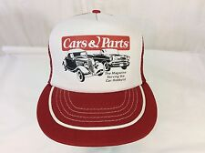 Vintage Cars & Parts Truckers Hat Red/White Auto Hobbyist