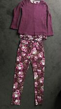 Girls Burgundy Floral Outfit Top 11-12 years Pants 12-13 years New