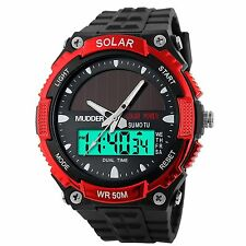Men Sports Solar Power 50M Waterproof Outdoor LCD Movement Military Watch Red