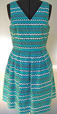NEW CYNTHIA ROWLEY LADIES COTTON DRESS AZTEC LINE GREEN GEOMETRIC STRIPE 8 $99