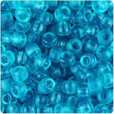 500 Turquoise Frosted 9x6mm Barrel Pony Beads Made in the USA by The Beadery