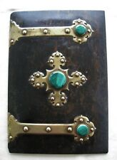Antique Gothic Malachite Coromandel Blotter Album Cover Cabochon Brass