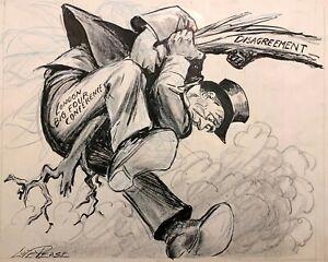 LUTE PEASE 20th c. American ORIGINAL SIGNED  ILLUSTRATION POLITICAL CARTOON ART