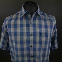 The North Face Mens Outdoor Shirt LARGE Short Sleeve Blue Regular Fit Check
