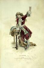 Le Joueur  Valère Costume Théâtre Jean Racine gravure XIXème