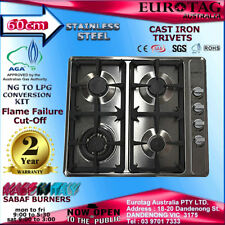 EUROTAG 60cm /600MM Gas Cooktop Stainless Steel with Cast Iron Trivets BRAND NEW