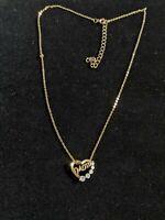 Vintage Estate Gold Tone Heart Mom Rhinestone Pendant Necklace