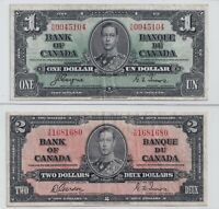 1937 $1 and $2 Bank of Canada Notes - Very Fine