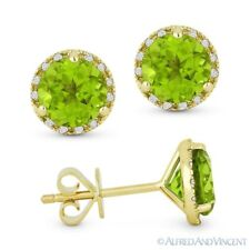 1.97ct Round Cut Peridot & Diamond Martini Halo Stud Earrings in 14k Yellow Gold